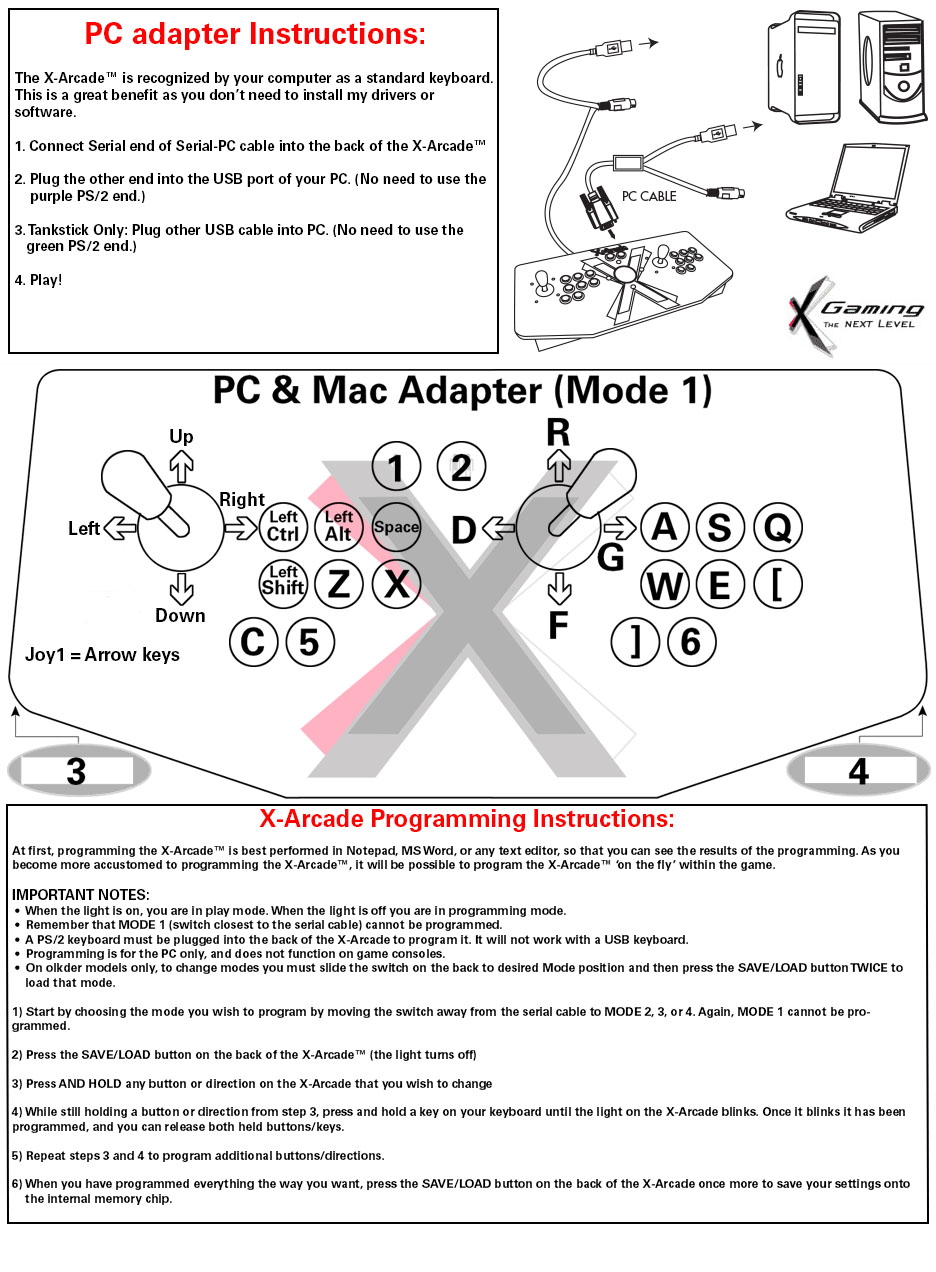X Arcade Tankstick Dual Solo Joystick Manuals Xgaming Usb Cable Wiring Guide Once You Have The Connected And Light Is On Be Sure Are In Mode 1 Test It With Utility Here